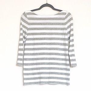 Gap | Boatneck 3/4 Sleeve Top w Horizontal Stripes
